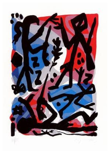 A.R. PENCK - Estampe-Multiple - Meeting at the Elbe - Treffen an der Elbe