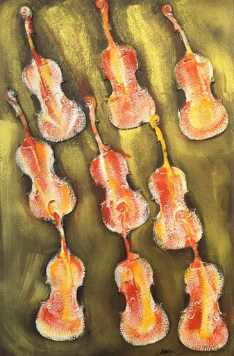 Fernandez ARMAN - Estampe-Multiple - Empreintes de violon orange