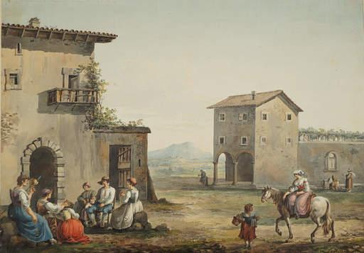Franz KAISERMANN - Drawing-Watercolor - Roman Campagna
