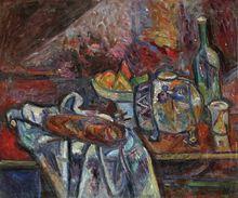Pinchus KREMEGNE - Pintura - Still Life with Bread