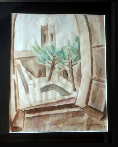 Marie Vorobieff MAREVNA - Dibujo Acuarela - Opened window to the village of Cagnes