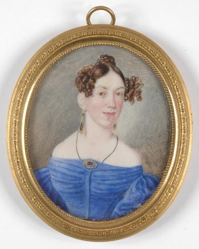 "Heinrich FERSTLER - Dibujo Acuarela - ""Portrait of a Lady"", 1835, Miniature on Ivory"