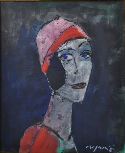Franco ROGNONI - Pintura - Donna con cappello rosso