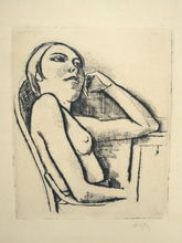 Carl HOFER - Grabado - Nude in the Chair | Halbakt im Stuhl