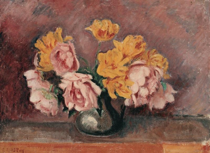 Jean PUY - Gemälde - Bouquet de Fleurs aux Roses Jaunes, 1927