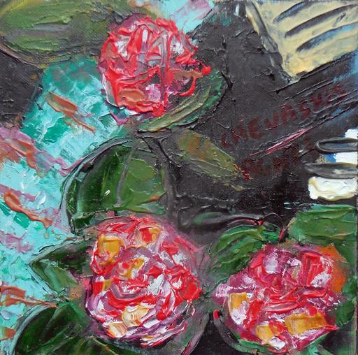 Jean-Pierre CHEVASSUS-AGNES - Peinture - fleurs de camélias et piano