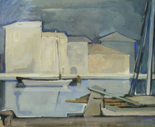 Tullio CRALI - Pintura - Barche sul Canale