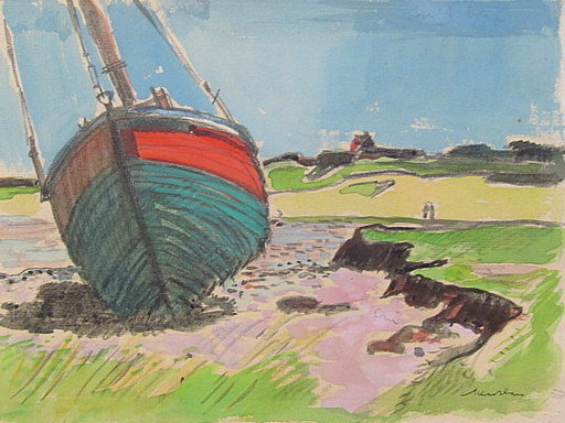 Paul MECHLEN - Drawing-Watercolor - Boot am Ufer - Sylt.