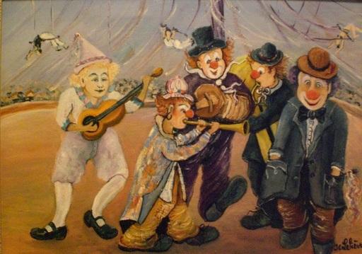 Jean-Claude LELIEVRE - Peinture - Les Joyeux Clowns