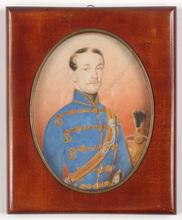 "Robert THEER - Miniatura - ""Hussar Officer Josef v. Gabrianyi"", large miniature, 1852"