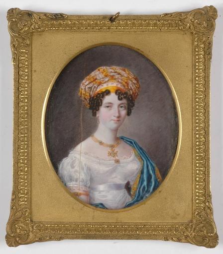 "Michael THEWENETI - Miniatura - ""Lady with Turban"", 1820s, Miniature on Ivory"