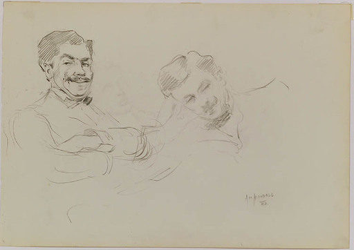 "Alonzo Myron KIMBALL - Zeichnung Aquarell - ""Portrait Studies"", 1894"