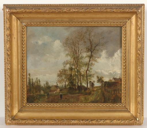 "Léon Victor DUPRÉ - Gemälde - ""Farm at the Village Edge"", Oil painting, 2nd half of 19th c"