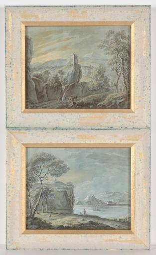 "Martin VON MOLITOR (Attrib.) - Drawing-Watercolor - ""Two Alpine landscapes"" watercolors, late 18th Century"