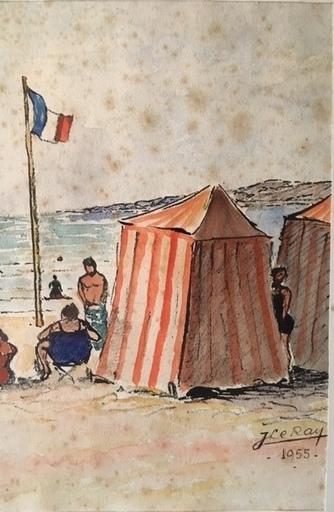 Jules LE RAY - Zeichnung Aquarell - la plage