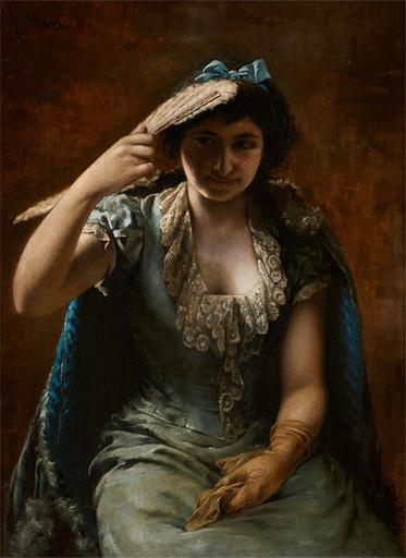 Agapit STEVENS - Peinture - Retrato de una elegante dama con un vestido azul y una estol