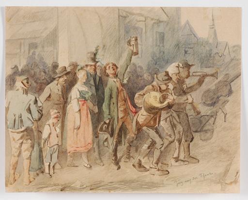"Adolf WERNER - Drawing-Watercolor - ""Wedding in Niederlausitz, Saxony"", 2. H. of the 19th Centur"