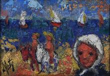 Henry Maurice D'ANTY - Pintura - Beach Scene