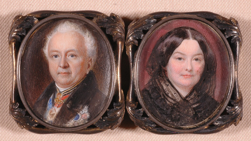 "Moritz Michael DAFFINGER - Miniature - ""Count Palm Gumdelfinger and his wife"", ca. 1840"