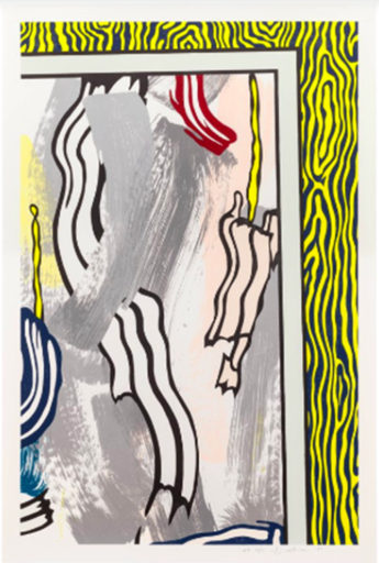 Roy LICHTENSTEIN - Print-Multiple - Paintings on Blue and Yellow Wall