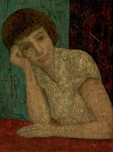 Antoon CATRIE - 绘画 - Woman Leaning on her Hand