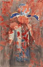 Meret OPPENHEIM - Dessin-Aquarelle - IRIS IN BLAUER VASE - 1975