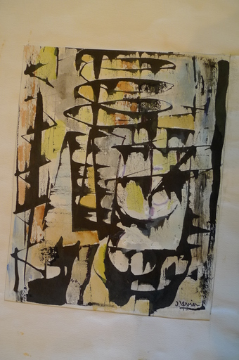 Joseph LEVIN - Drawing-Watercolor - composition abstraite 5
