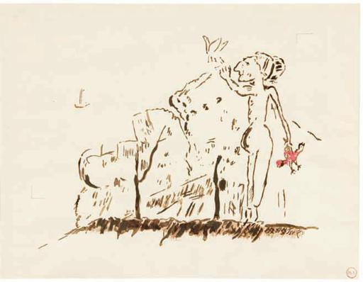 Mikhail LARIONOV - Dibujo Acuarela - Woman with two birds