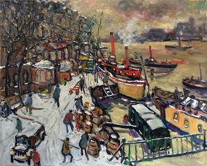 Charles MALLE - Pintura - Paris, la seine, la cale