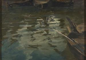 Charles Henry FROMUTH - Disegno Acquarello - Le miroir de l'orage sur l'eau