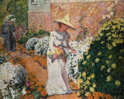 Louis VALTAT - Peinture - Madame Valtat au jardin, Anthéor