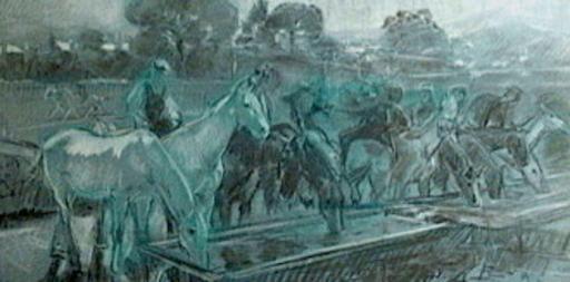 Ulpiano CHECA Y SANZ - Zeichnung Aquarell - Abrevando  caballos en el pilón. - Colmenar de Oreja