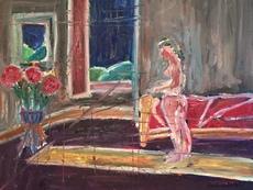 Christian DURIAUD - Peinture - Nu au bouquet de fleurs
