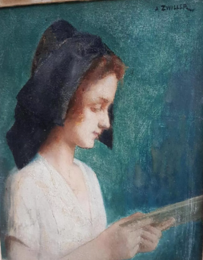 Augustin ZWILLER - Pintura - jeune femme lisant
