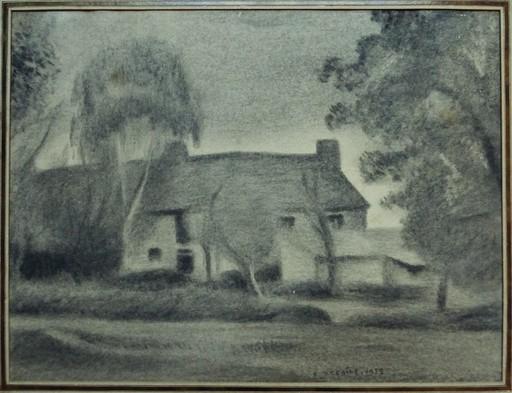 Edouard DEGAINE - Drawing-Watercolor - Maison cubisante