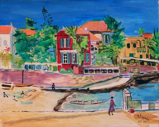 R.CAVALIÉ - Peinture - Gorée. Le port et l'embarcadère.