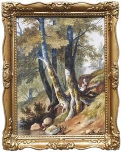 "Achille BENOUVILLE - Dibujo Acuarela - ""By Forest Stream"", Watercolor, 1849"