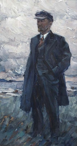 "Vassili KARKOTS - Painting - ""Lenin"" by Vasili Karkots, 1960, Oil Painting"