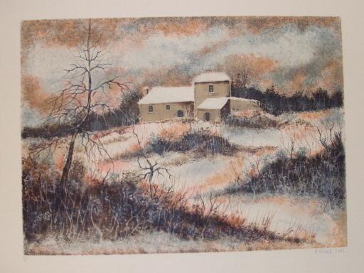 Pierre MAS - Grabado - Paysage d'hiver,1990.