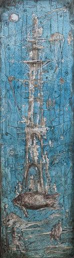Vasily KAFANOV - Painting - Fish-Tower in blue