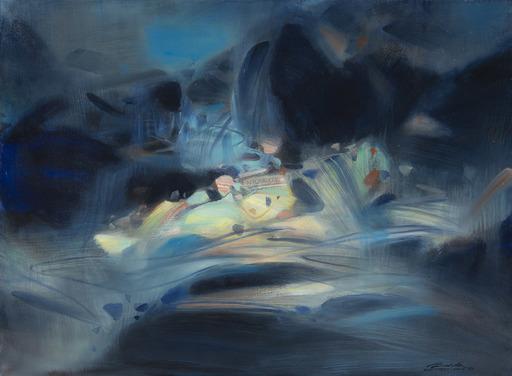 CHU Teh-Chun - Pintura - Abstraction bleue et jaune