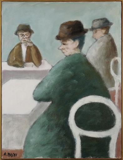 Ottone ROSAI - Peinture - Tre uomini seduti
