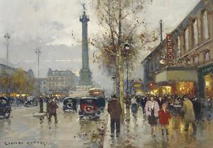 Édouard CORTES - Painting - La Place de la Bastille, Paris