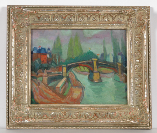 """Frederick SERGER - Painting - """"Bridge over river Marne"""" oil painting"""