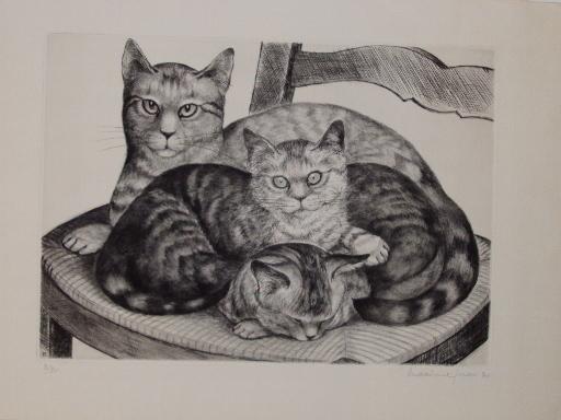 Maxime JUAN - Stampa Multiplo - Mère chatte heureuse