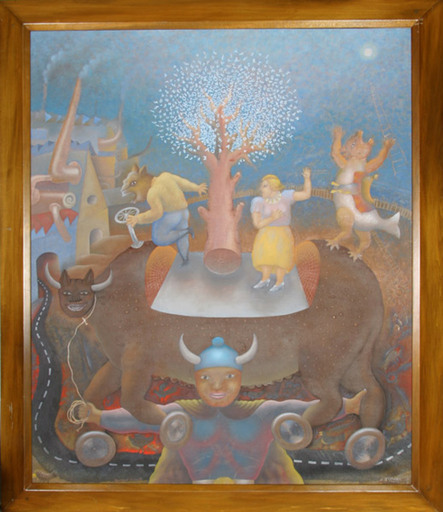 Maximino JAVIER - 绘画 - Untitled - Bull on Wheels