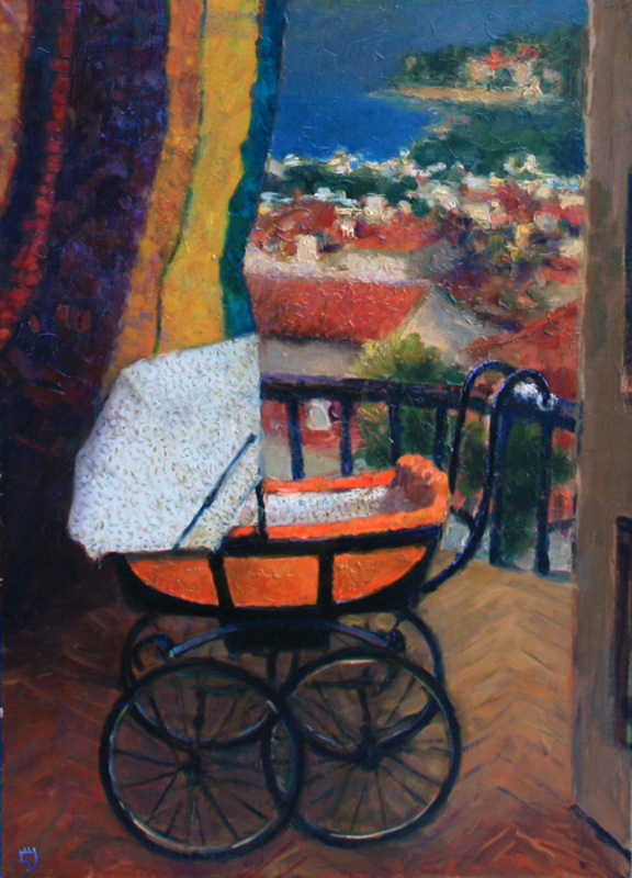 Levan URUSHADZE - Peinture - Landscape with baby carriage