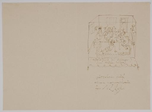 "Richard ZIEGLER - Drawing-Watercolor - ""Tafelrunde bei Albert und Hilde Wietz"""