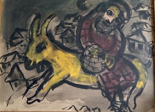 Marc CHAGALL - Dibujo Acuarela - Paysan à la chèvre jaune