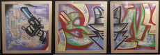 SONIC - Peinture - Sonic NYC Subway Map Triptych